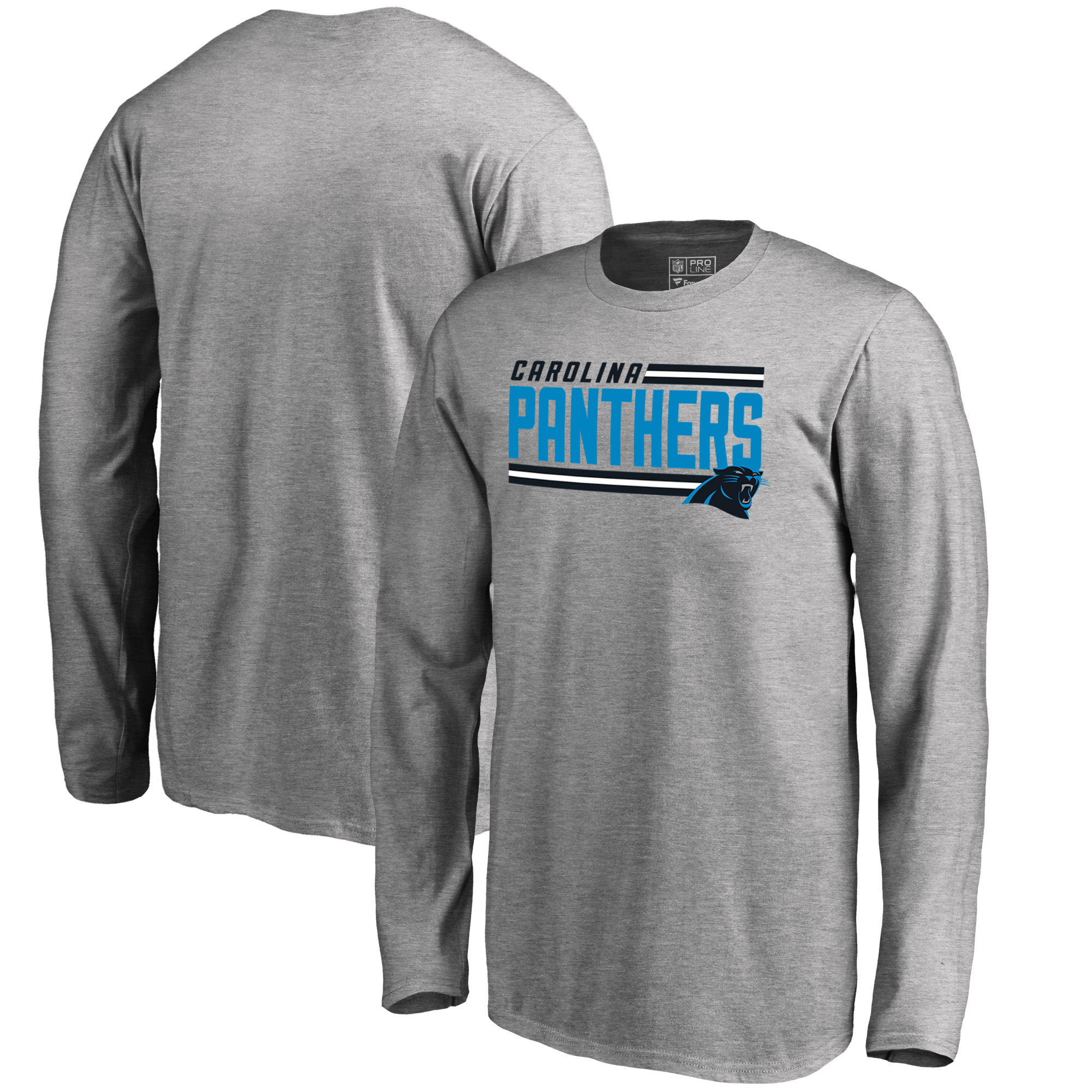 Carolina Panthers NFL Pro Line by Fanatics Branded Youth Iconic Collection On Side Stripe Long Sleeve T-Shirt - Ash