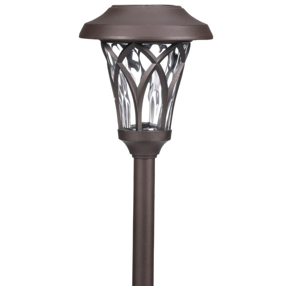 Hampton Bay Bronze Solar LED Fan Cage Pathway Light Set (...