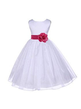 a8b7566d983 Product Image Ekidsbridal White Satin Bodice Organza Flower Girl Dress  Easter Summer Dresses Communion Dress Baptism Dress Toddler