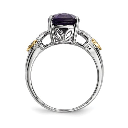 925 Sterling Silver 14k Purple Amethyst Diamond Band Ring Size 6.00 Stone Gemstone Fine Jewelry Gifts For Women For Her - image 3 of 9
