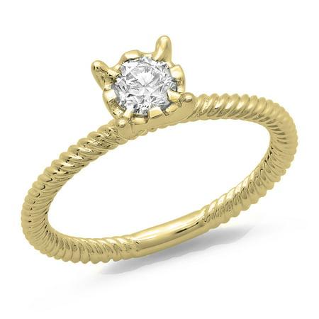 Dazzlingrock Collection 0.40 Carat (ctw) 14K Round Cut Diamond Ladies Bridal Solitaire Engagement Ring, Yellow Gold, Size 7 Ctw Round Cut Diamond Solitaire