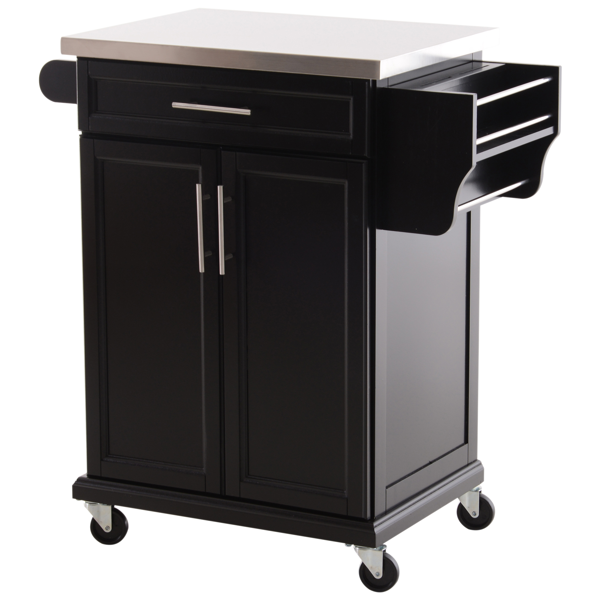 kitchen storage island cart homcom wood stainless steel multi storage rolling kitchen island utility cart with wheels 2647