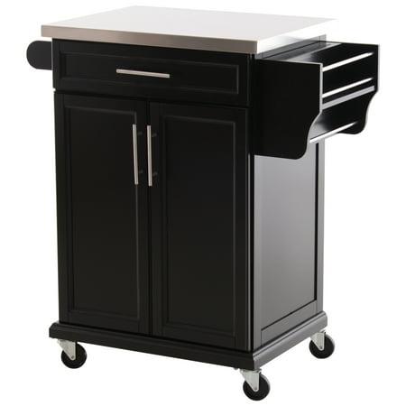 HOMCOM Wood Stainless Steel Rolling Kitchen Island Utility Storage Cart on  Wheels - Black