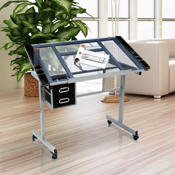 Yaheetech Adjustable Drafting Drawing Table Rolling