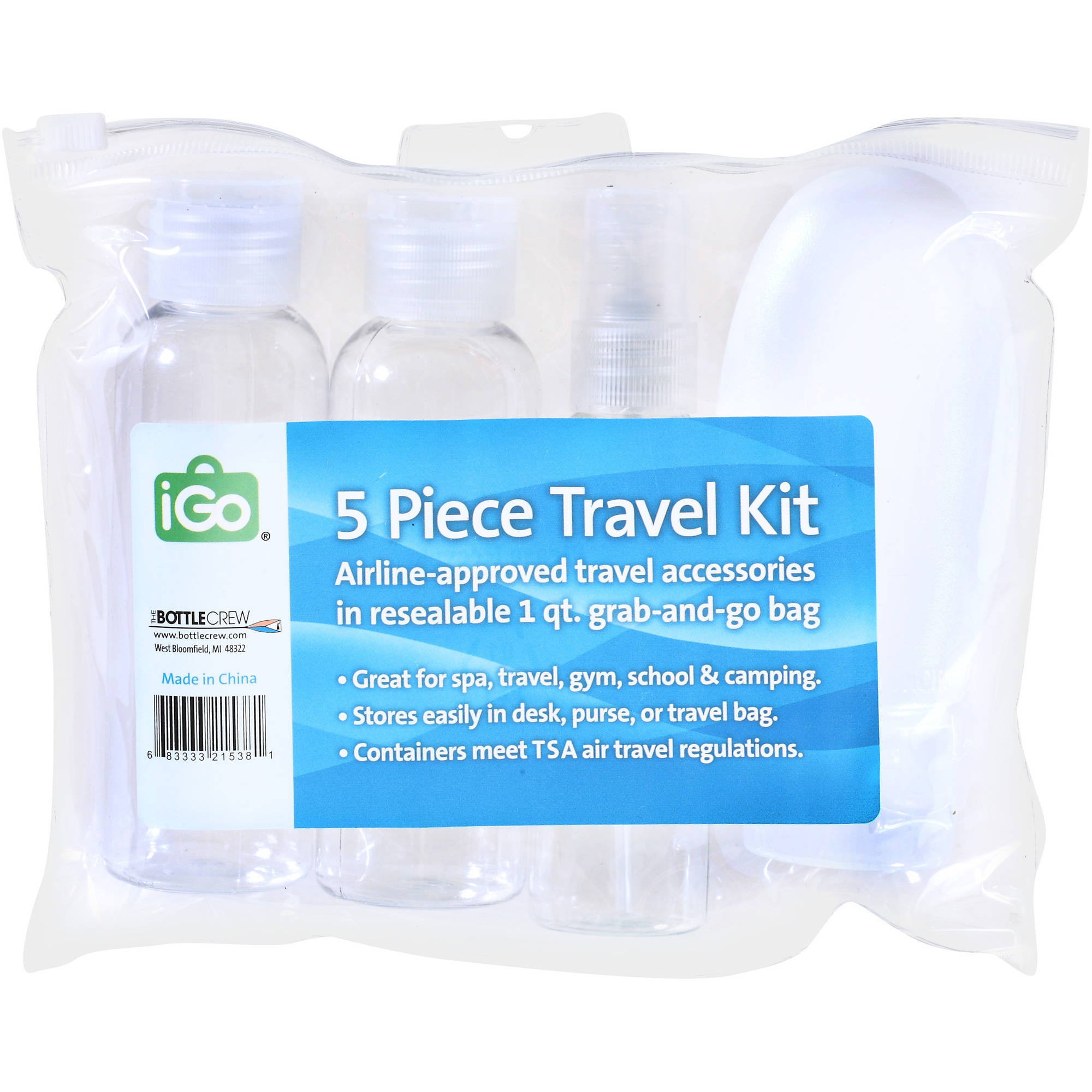 iGo Travel Bottle Kit, 5 pc (Color May Vary)