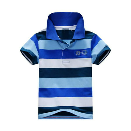Kids Toddler Baby Boy Girl Short Sleeve Striped Cotton Polo T-shirt Top
