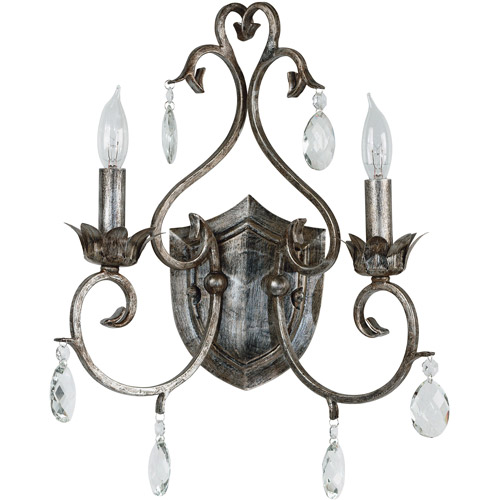 Kenroy Home Antoinette 2-Light Sconce, Weathered Silver