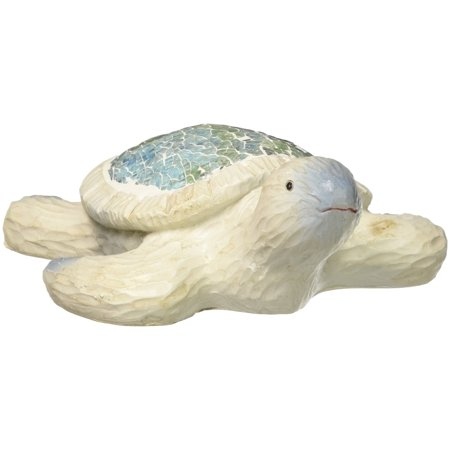 StealStreet Length Crushed Glass Sea Turtle Sculpture, 5'