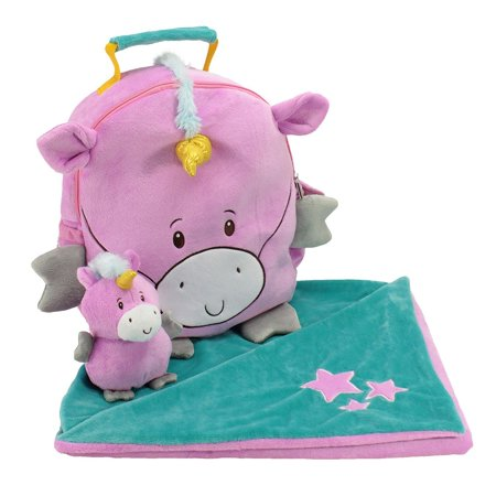 Animal Adventure Kid Backpack Set Happy Travel Set Bag Blanket School Unicorn (Best Adventure Travel Bags)