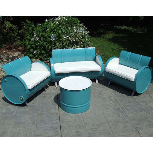 Drum Works Furniture Del Ray 4 Piece Sofa Set with Cushions