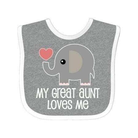 Great Aunt Loves Me Elephant Baby Bib Aunt Personalized Baby Bib