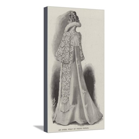 An Opera Wrap of White Poplin Stretched Canvas Print Wall Art