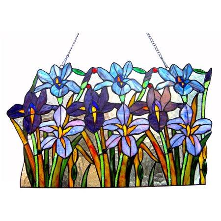 August Grove Tiffany Glass Iris Window Panel