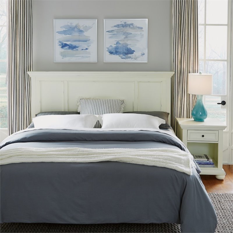 Dover White King-California King Headboard and Night Stand