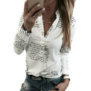 Women Causal Letter Printing White Crop Top Club Long Sleeve