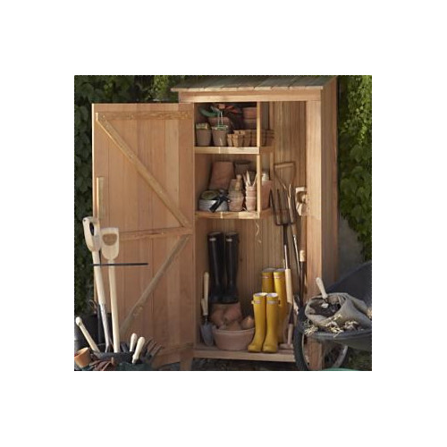 All Things Cedar Western Red Cedar 3 ft. W x 2 ft. D Wooden Vertical Tool Shed