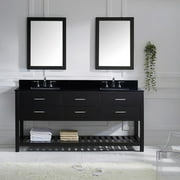 VIRTU USA Caroline Estate 72-inch Double Vanity Black Granite Top with Mirror