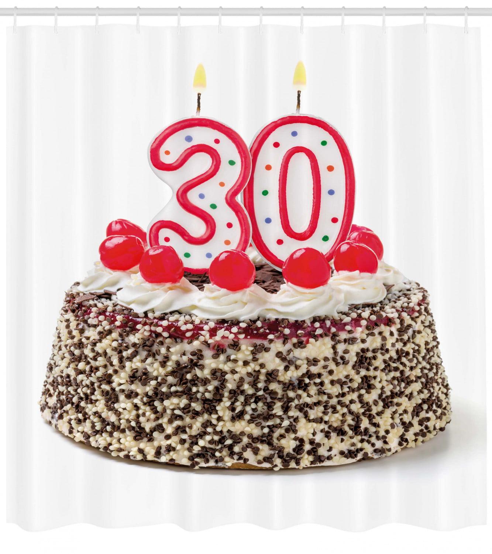 Sensational 30Th Birthday Shower Curtain Birthday Cake With Cherries On The Funny Birthday Cards Online Aboleapandamsfinfo