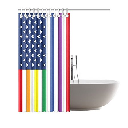 GCKG American Flag with LGBT Colors Shower Curtain, Rainbow Pride Polyester Fabric Shower Curtain Bathroom Sets 60x72 Inches - image 1 of 3