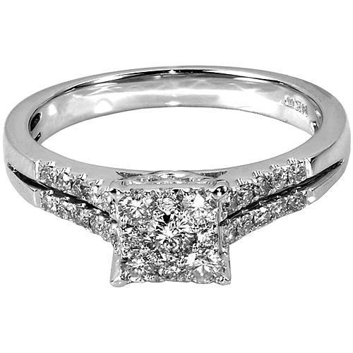 1/2 Carat T.W. Square Diamond 10kt White Gold Engagement Ring