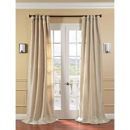 Antique Beige Faux Silk Taffeta Single Panel Curtain, 50 X 84