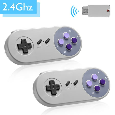 2-Pack 2.4GHz Wireless Controller Gamepad For Super Nintendo SNES Classic Mini Edition Console ()
