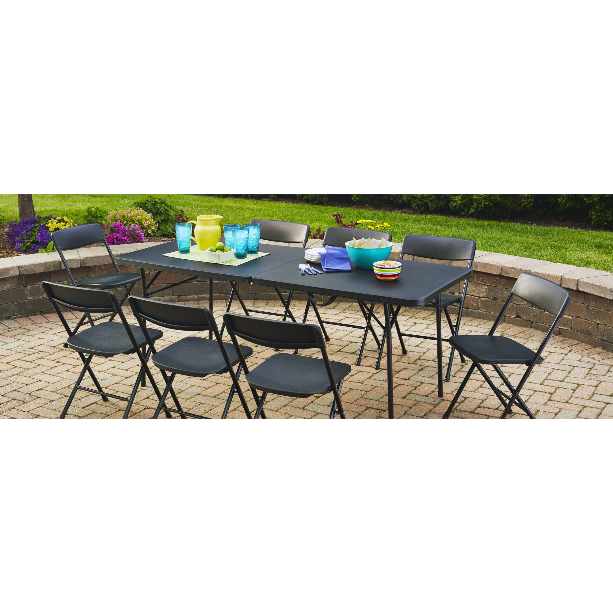 Mainstays 6u0027 Fold In Half Table, Black Image 1 ...