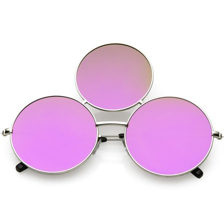 a188ecc31e sunglass.la - Oversize Circle Third Eye Sunglasses Slim Arms 56mm (Silver    Purple Mirror) - Walmart.com