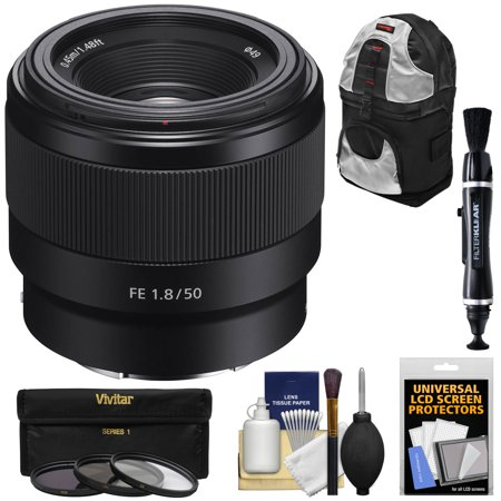 Sony Alpha E-Mount FE 50mm f/1.8 Lens with 3 UV/CPL/ND8 Filters + Backpack