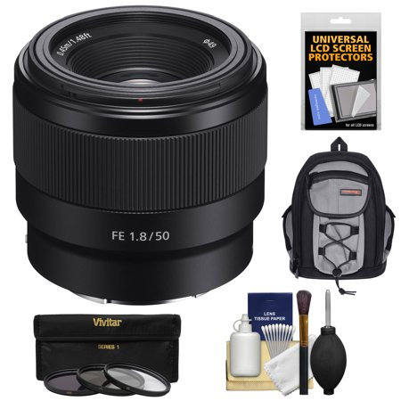 Sony Alpha E-Mount FE 50mm f/1.8 Lens with 3 Filters + Backpack + Kit for A7, A7R, A7S Mark II