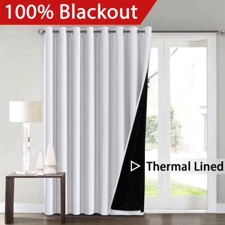 FlamingoP Full Blackout White Wide Patio Door Curtains Faux Silk Satin with Black Liner Thermal Insulated Room Divider Window Treatment Panels, Grommet Top (100 x 96 Inch, One