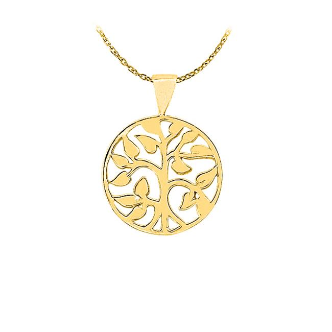 Fine Jewelry Vault UBPD3057AGVY Amazingly Designed 18K Yellow Gold Vermeil Floral Circle Pendant with a Free 16 in. Chain