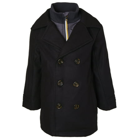 Sportoli Boys Classic Wool Look Lined Winter Vestee Dress Pea Coat Peacoat Jacket - Black Vestee (Size 4)