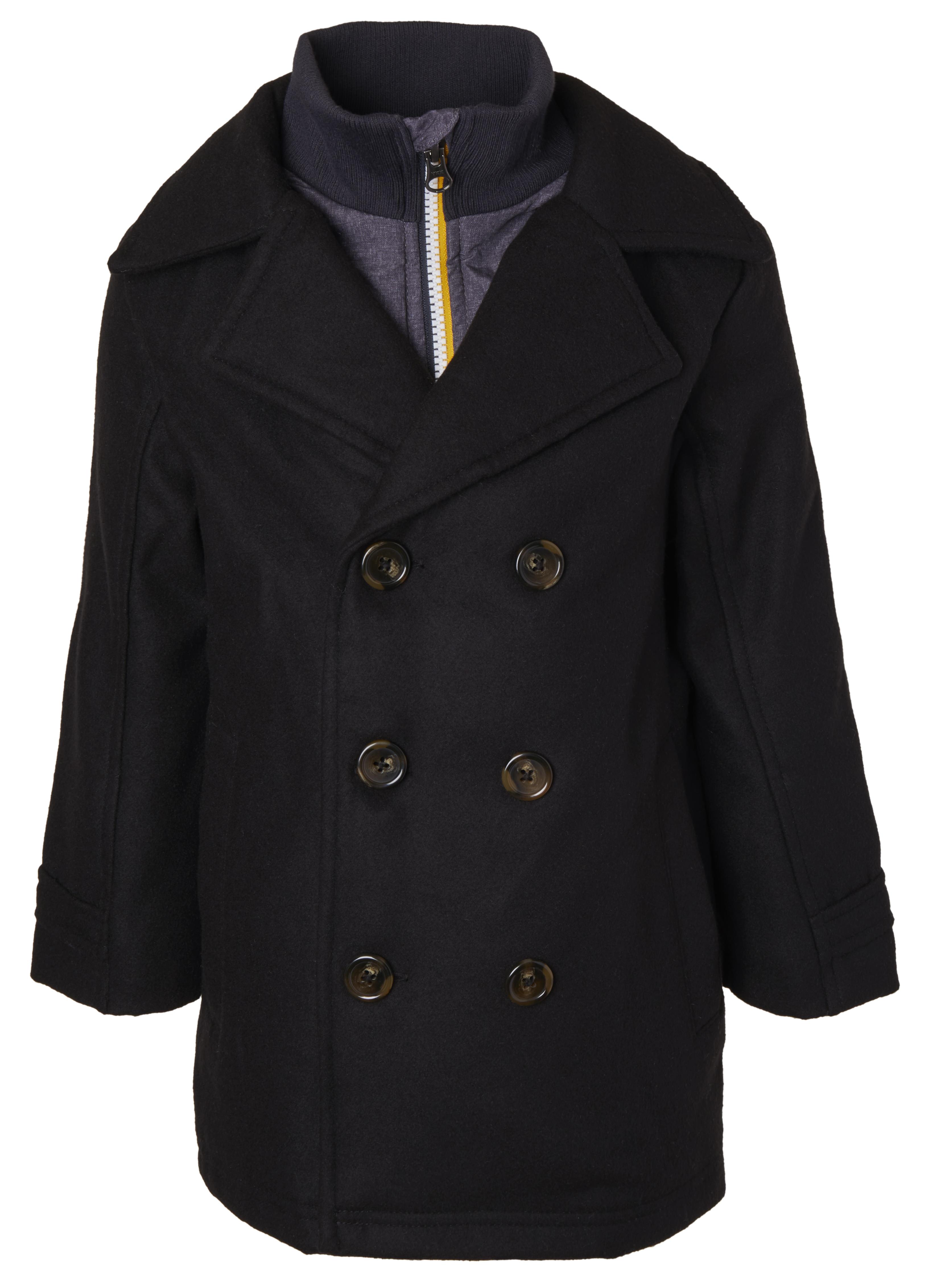 Sportoli Boys Classic Wool Look Lined Winter Vestee Dress Pea Coat Peacoat Jacket - Black Vestee (Size 4)