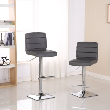 Roundhill Bradford Gray Faux Leather Swivel Height Adjustable Bar Stools with Square Chrome Base, Set of 2