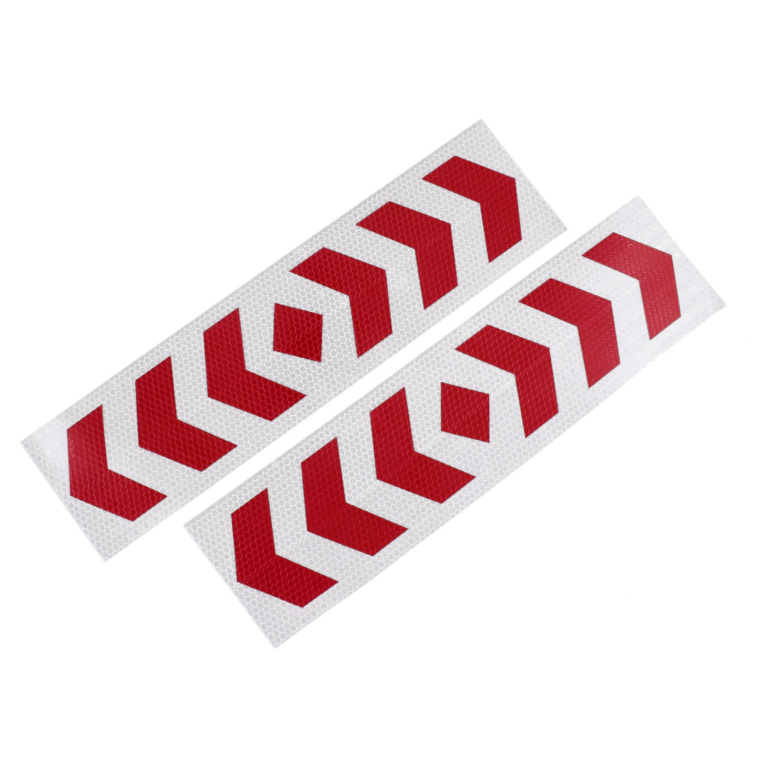 Car SUV Plastic Reflective Warning Sign Sticker Tape Red White 2 Pcs