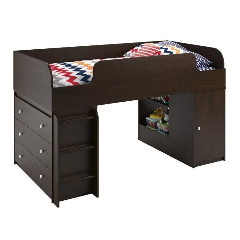 Altra Furniture Elements Loft Bed with Ladder and Toy Box