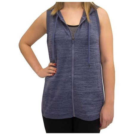 Active Life Womens Size 2X-Large Hooded w/Petal Back Athleisure Vest, Navy Heather