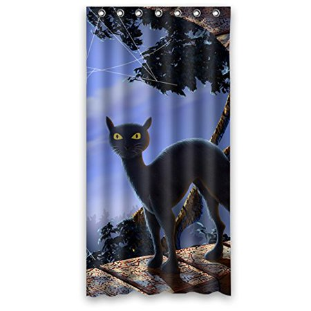 MOHome Happy Halloween Creepy Cat Shower Curtain Waterproof Polyester Fabric Shower Curtain Size 36x72 inches - Halloween Cat Fabric