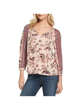 Lucky Brand Womens Border Print Knit Blouse, Pink, Medium
