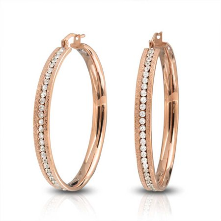 Round Channel Set CZ Large Hoop Earrings Stardust Matte Finish Channel Set CZ Rose Gold Plated Stainless Steel 2 In Dia
