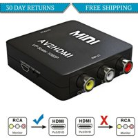 RCA to HDMI, GANA 1080P Mini RCA Composite CVBS AV to HDMI Video Audio Converter Adapter Supporting PAL/NTSC with USB Charge Cable for PC Laptop Xbox PS4 PS3 TV STB VHS VCR Camera DVD-Black