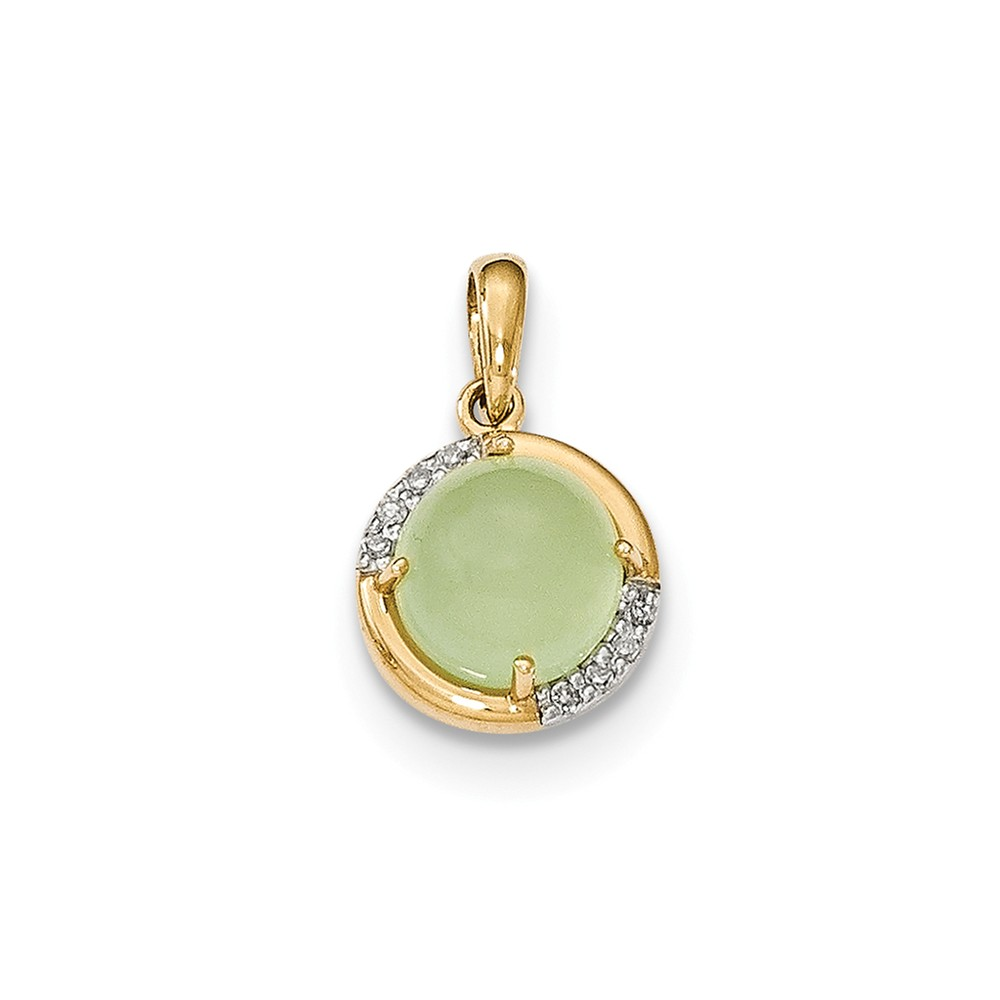 14k Yellow Gold Green Chalcedony and Diamond Pendant