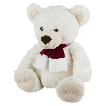 Polar Bear Patch - Holiday Time Fluffy Polar Bear Toy in Scarf, 17