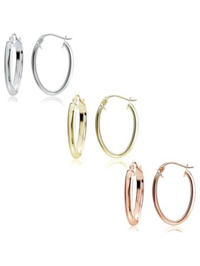 ea4db6576 Free shipping on orders over $35. Free pickup. Product Image Mondevio 14kt Gold  over Sterling Silver Oval Tricolor Hoop Earring Set