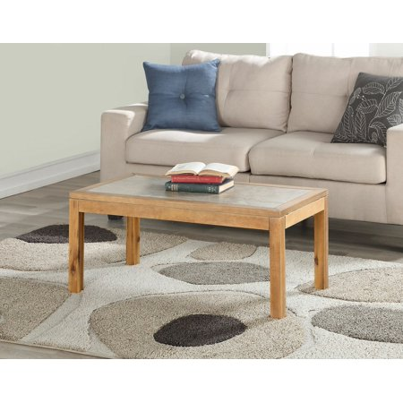 Mainstays Glenmore Faux Concrete Top Coffee Table, Gray-Wash Wood