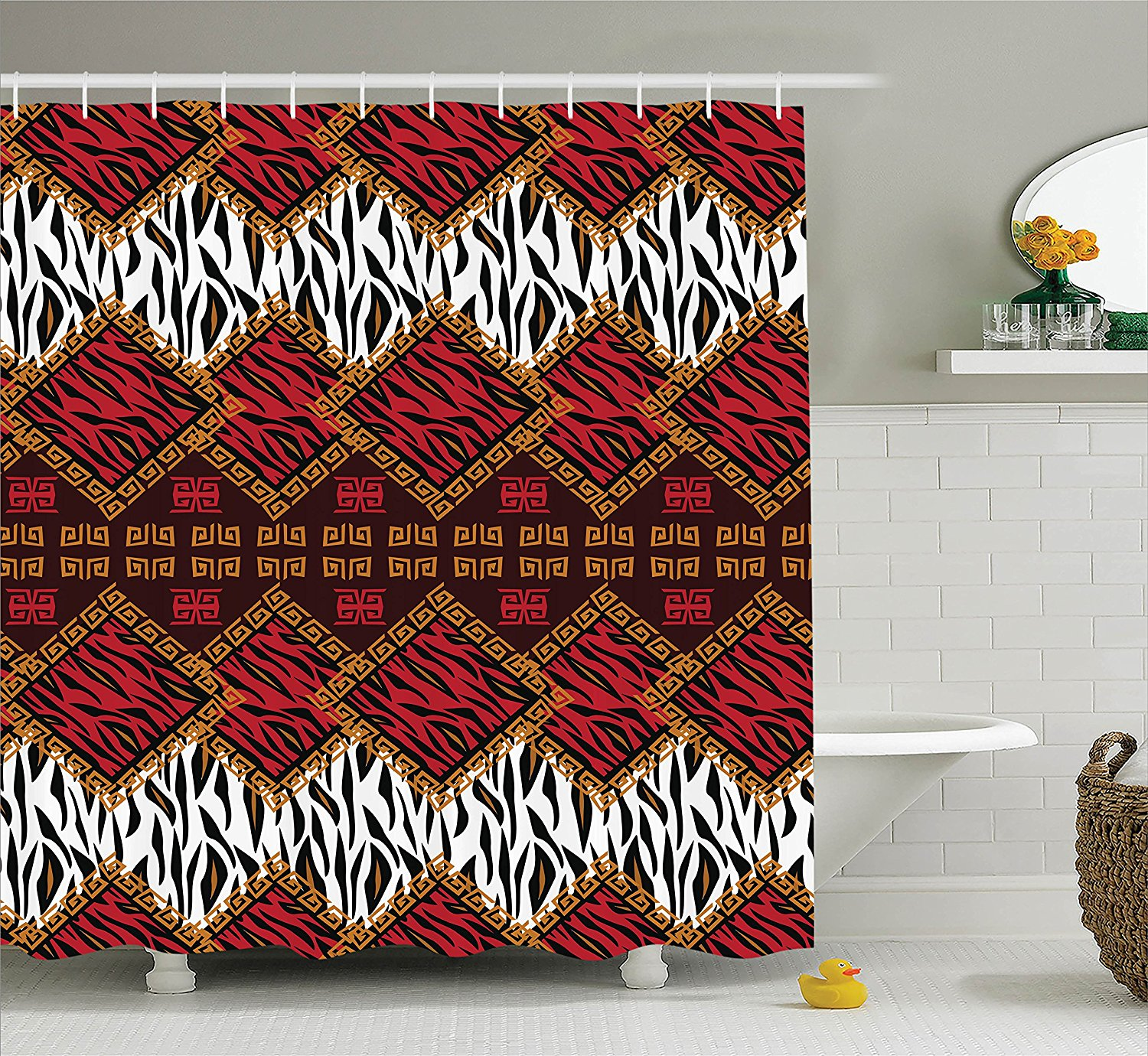 Quilt Shower Curtain Set Home Decor By African Style Wild Animal Skin Print Stripes In Diamond Pattern Native Tribal Artwork Bathroom Accessories With Hooks By Ambesonne Walmart Com Walmart Com