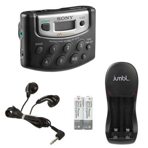 Sony Walkman Digital Tuning Palm Size AM/FM Stereo Radio w/12 Station Preset, DX Switch, Beltclip, Earphone + Jumbl Recharger & Rechargeable Batteries