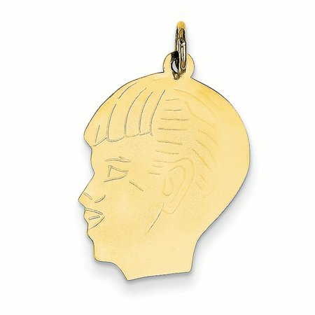 - 14K Yellow Gold .011 Gauge Boy Head Charm Pendant MSRP $238