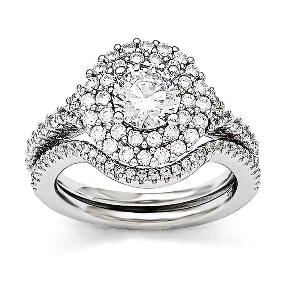 Sterling Silver & CZ Brilliant Embers Rhodium 2-piece Wedding Set Size 7